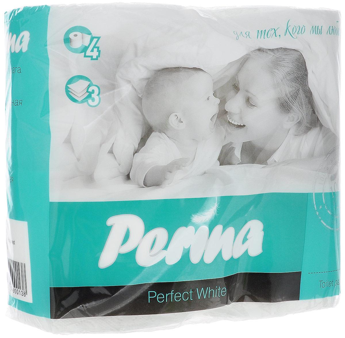 Бумага туалетная Perina Perfect White, трехслойная, 4 рулона138Туалетная бумага Perina Perfect White выполнена из натуральной целлюлозы. Трехслойная туалетная бумага мягкая, нежная, но в тоже время прочная. Листы имеют рисунок с перфорацией. Длина рулона: 18,8 м. Количество листов: 150 шт. Количество слоев: 3. Размер листа: 12,5 х 9,4 см. Состав: 100% целлюлоза.