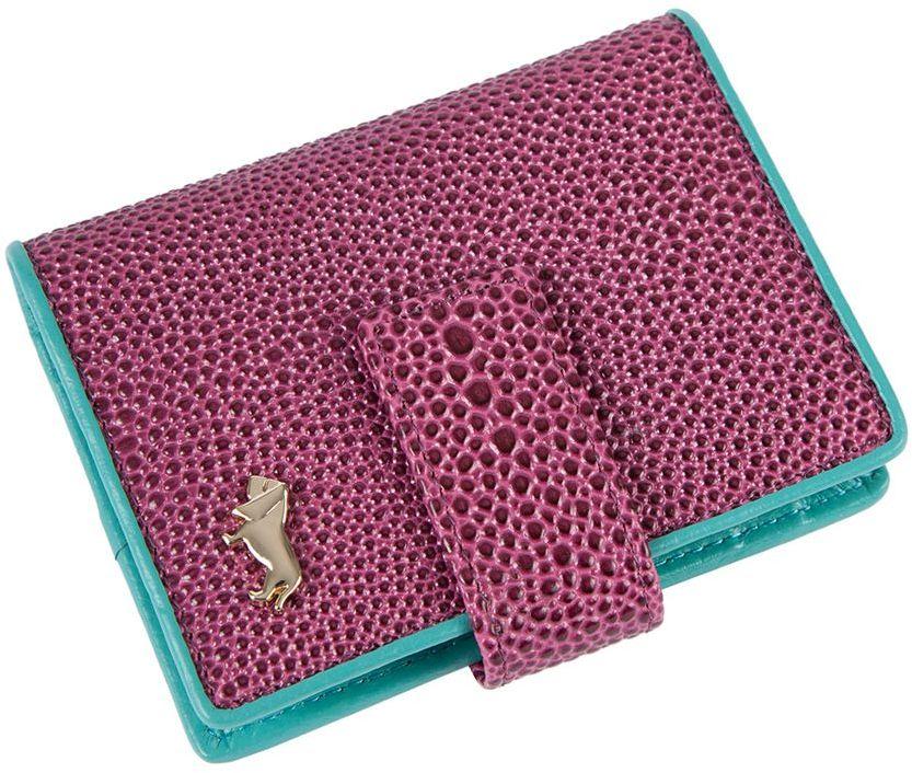 Визитница Labbra L048-0005 purple/turquoiseL048-0005Визитница торговый марки LABBRA из натуральной кожи. Модель вмещает 24 визитных карточки, имеется потайной кармашек. Закрывается на кнопку.