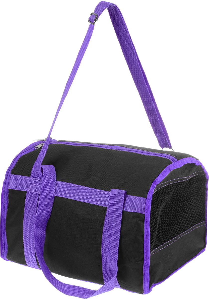 Сумка-переноска для животных Каскад Спорт, цвет: черный, фиолетовый, 37 х 27 х 25 см0120710Текстильная сумка-переноска Каскад Спорт для собакмелких пород и кошек имеет твердое основание, которое непозволит животному провисать. С одной стороны переноскиспециальная сетчатая вставка, чтобы ваш любимец могдышать. С другой стороны сумка закрывается на застежку-молнию. В верхней части изделия есть застежка-молния, открывающая доступ в отделение для необходимых вам вещей.Для удобной переноски у сумки имеются две ручки ирегулируемая лямка.При необходимости сумку можно сложить. Сумка-переноска Каскад Спорт понравится вашимдомашним любимцам.