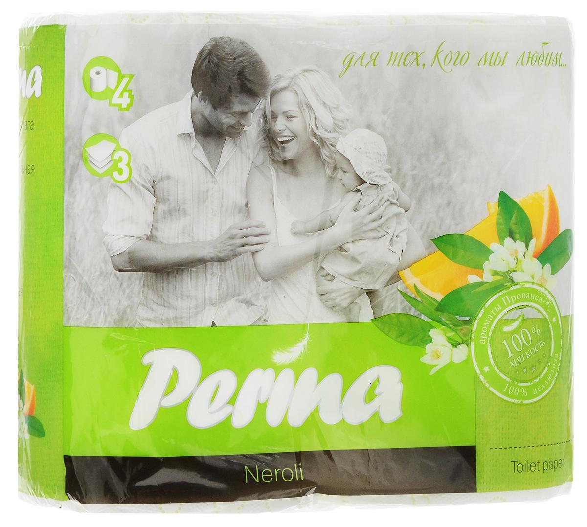 Бумага туалетная Perina Neroli, ароматизированная, трехслойная, 4 рулона190Ароматизированная туалетная бумага Perina Neroli выполнена из натуральной целлюлозы и обладает приятным ароматом. Трехслойная туалетная бумага мягкая, нежная, но в тоже время прочная. Листы имеют рисунок с перфорацией. Длина рулона: 18,8 м. Количество листов: 150 шт. Количество слоев: 3. Размер листа: 12,5 х 9,4 см. Состав: 100% целлюлоза.