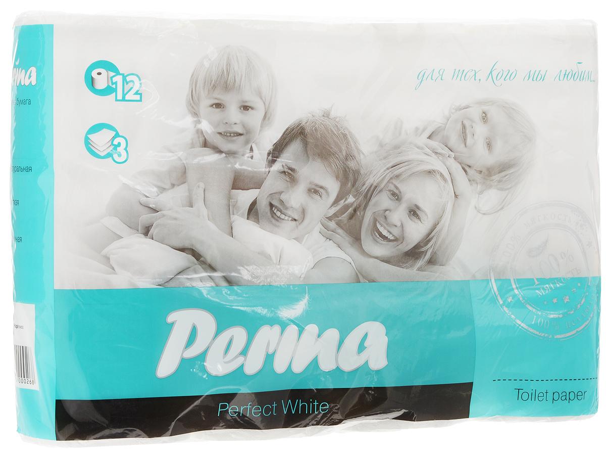 Бумага туалетная Perina Perfect White, трехслойная, 12 рулонов268Туалетная бумага Perina Perfect White выполнена из натуральной целлюлозы. Трехслойная туалетная бумага мягкая, нежная, но в тоже время прочная. Листы имеют рисунок с перфорацией. Длина рулона: 18,8 м. Количество листов: 150 шт. Количество слоев: 3. Размер листа: 12,5 х 9,4 см. Состав: 100% целлюлоза.