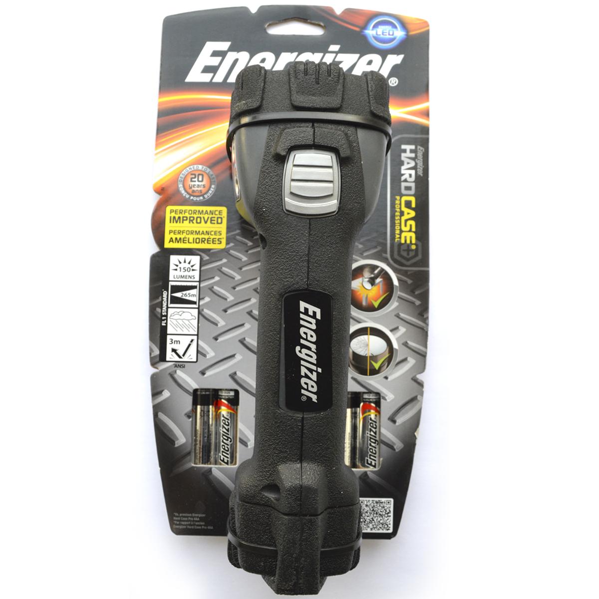 Фонарь ручной Energizer HardCase Pro 1LED. 638532638532Яркий белый точечный светодиод создает мощный узконаправленный луч Высокая ударопрочность Безосколочные линзы – небьющийся Чрезвычайно длительный срок службы – рассчитан на 15 лет Работает от 4 щелочных батареек типоразмера AA (в комплекте)