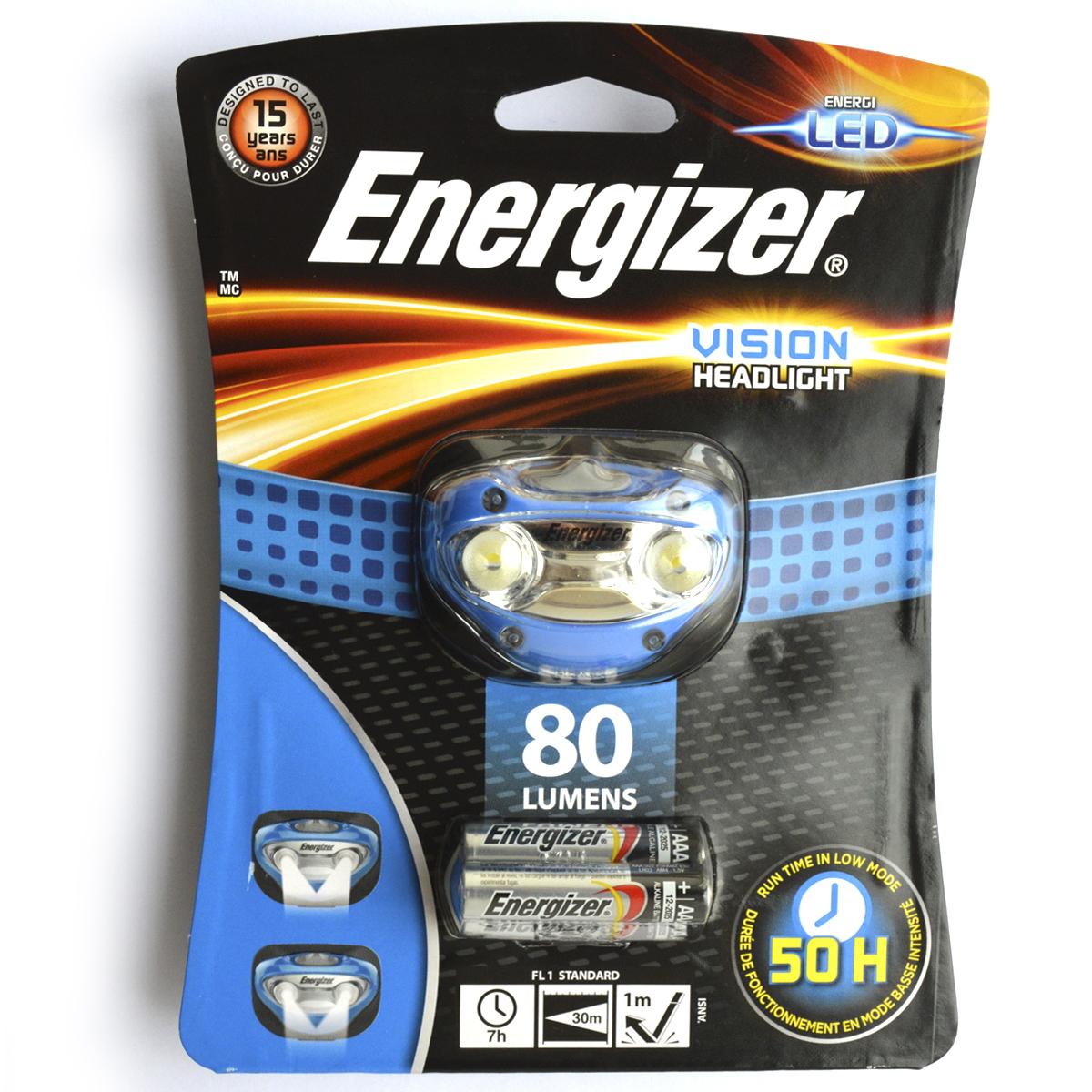 Фонарь налобный Energizer Headlight Vision. E300280300E3002803002 белых светодиода Режимы освещения с высокой и низкой мощностью Ползунковый переключатель включения/выключения Регулируемая эластичная лента для крепления на голову Поворотная головка Небьющиеся линзы Устойчив к падению с высоты в 1 метр Расчетный срок службы 15 лет 3 щелочных батарейки типоразмера AAA (входят в комплект) Обновлен и улучшен по сравнению с предыдущей линейкой, светит до 4 раз ярче, чем обычные светодиодные фонари