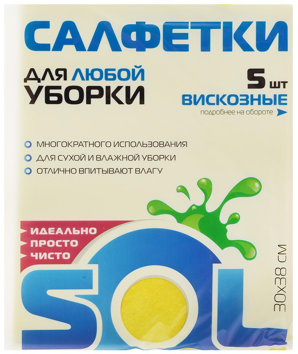 Салфетка для уборки Sol из вискозы, универсальная, цвет: желтый, 30 x 38 см, 5 шт10003/70010_желтыйСалфетки для уборки Sol, выполненные из вискозы и полиэстера, предназначены для уборки и могут применяться с различными моющими средствами. Эффективно впитывают жидкость. Мягкие и прочные, легко отжимаются и быстро сохнут. Рекомендации по уходу: Для обеспечения гигиеничности уборки после применения прополоскать в теплой воде. Для продления срока службы не применять машинную стирку, не гладить и не кипятить.