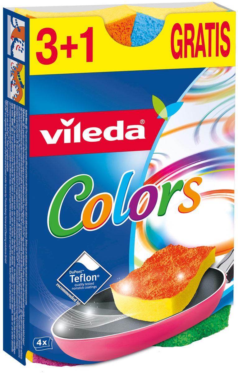 Губка Vileda Pure Colors, 3+1 шт32110050Губка для мытья посуды в 4 привлекательных сочных цветах; Идеально подходит для деликатных поверхностей: стекло, акрил, фарфор, нержавеющая сталь, хром, латунь и т.д. Специальная, запатентованная формула абразивной части губки позволяет удалять грязь, не царапая и не повреждая антипригарное, чувствительное покрытие; Одобрено для использования компанией DuPont™ на антипригарных покрытиях Teflon®.