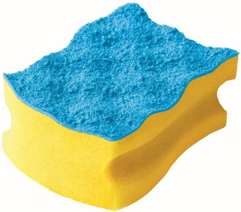 Губка Vileda Pure Colors, без упаковки, цвет: желтый, голубой32110057Упаковка: 1 шт. Толстый поролон Удобна в использовании за счет специальных пазов для пальцев