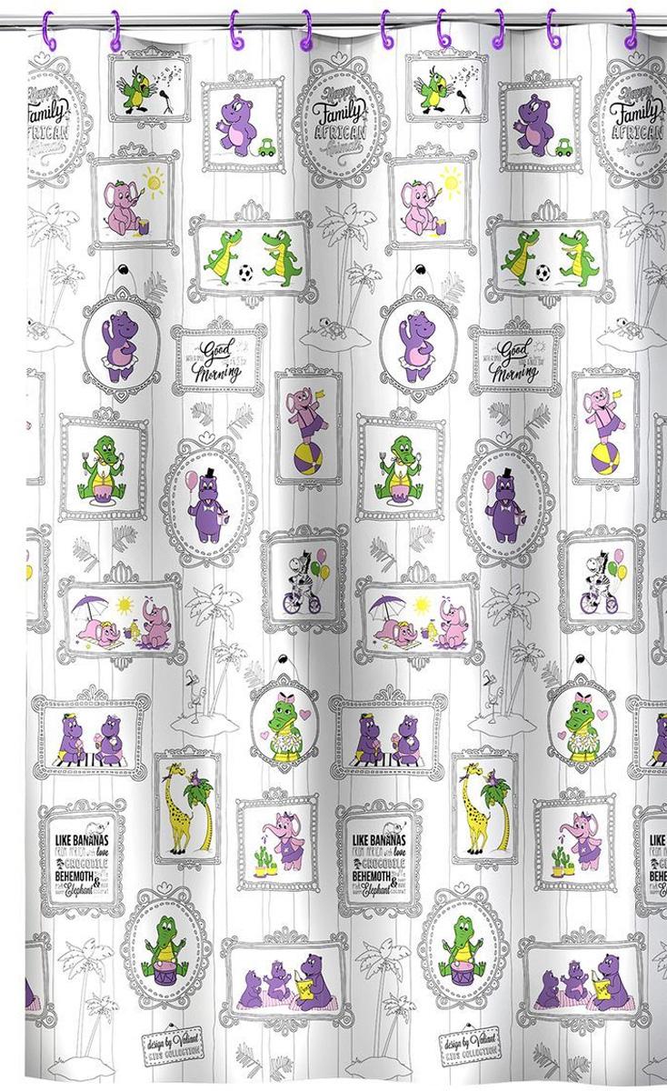 Valiant Штора для ванной Веселая АфрикаK1818-AFЗабавная штора для ванной Valiant Веселая Африка предназначена специально для детей. Штора украсит ванную комнату и создаст неповторимую обстановку для купания детей. Высококачественный полимерный материал обладает повышенными водоотталкивающими свойствами, приятен на ощупь. Штора легко крепится на цветные пластиковые кольца (входят в комплект). Материал устойчив к воздействию света и влаги, края отверстий для подвеса выполнены из пластика, что идеально для влажной среды ванной комнаты. Штора для ванной гармонично сочетается с другими аксессуарами для ванной комнаты серии Kids Collection.