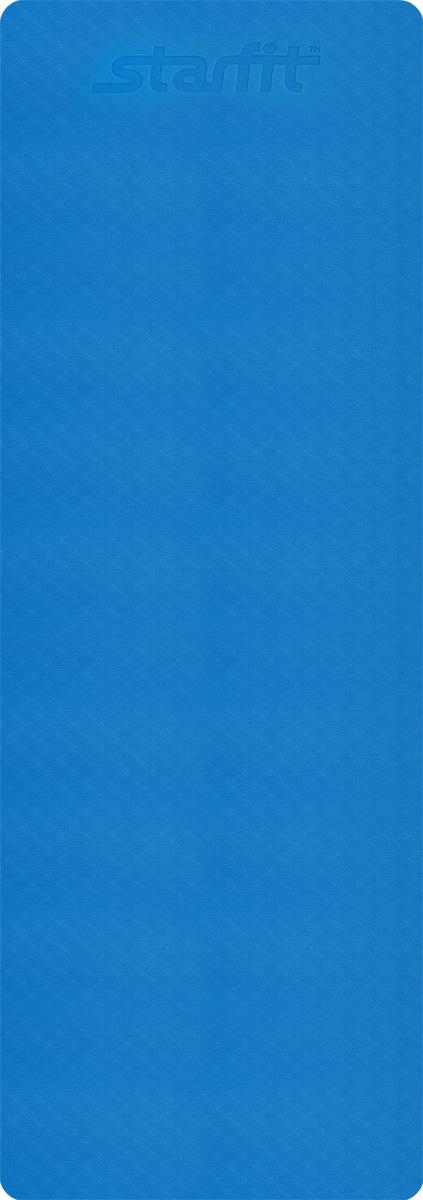 Коврик для йоги Starfit, цвет: синий, серый, 173 x 61 x 0,4 смУТ-00008846Коврик для йоги Star Fit - это незаменимый аксессуар для любого спортсмена как во время тренировки, так и во время пре-стретчинга (растяжки до тренировки) и стретчинга (растяжки после тренировки). Выполнен из высокопрочного эластомера. Коврик используются в фитнесе, йоге, функциональном тренинге. Его используют спортсмены различных видов спорта в своем тренировочном процессе. Предпочтительно использовать без обуви. Если в обуви, то с мягкой подошвой, чтобы избежать разрыва поверхности коврика.