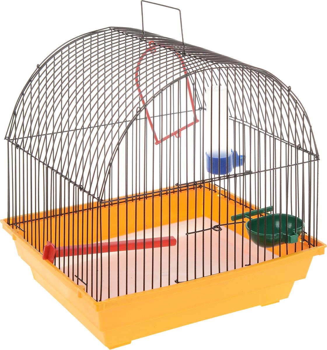 Клетка для птиц ЗооМарк, цвет: желтый поддон, черная решетка, 35 х 28 х 34 см420_желтый, черныйКлетка ЗооМарк, выполненная из полипропилена и металла с эмалированным покрытием, предназначена для мелких птиц. Изделие состоит из большого поддона и решетки. Клетка снабжена металлической дверцей. В основании клетки находится малый поддон. Клетка удобна в использовании и легко чистится. Комплектация: - клетка с поддоном, - малый поддон, - поилка, - кормушка, - кольцо.