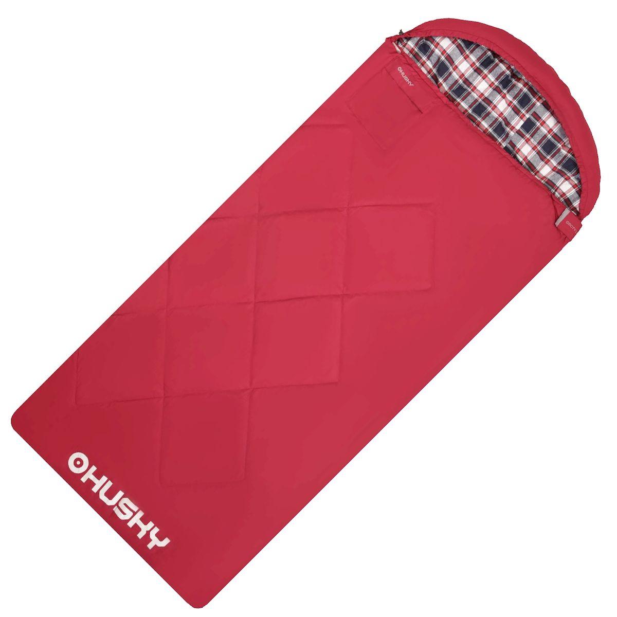 Спальник - одеяло Husky GROTY LADY -5С, правая молния, цвет: красныйУТ-000069832Спальник-одеяло с подголовником женский до -5°C (НОВИНКА) GROTY LADY Двухслойный женский спальный мешок-одеяло для кемпинга. Утеплитель из 4-х канального холофайбера, превосходная комбинация теплового комфорта с комфортом традиционного спального мешка-одеяла. Groty можно использовать не только на природе, но и в помещении как традиционное одеяло. Размеры: 85х200 см Размеры в сложенном виде: 45х35х17 см Вес: 2450 г Экстремальная температура: -5 С Комфортная температура: -0 С ... +5 С - Внешний материал: Pongee 75D 210T (лен) - Внутренний материал: флис (полиэстер) - Утеплитель: 2 слоя 150 г/м2 HollowFibre, - Конструкция: два слоя - Компрессионный мешок - Петли для сушки