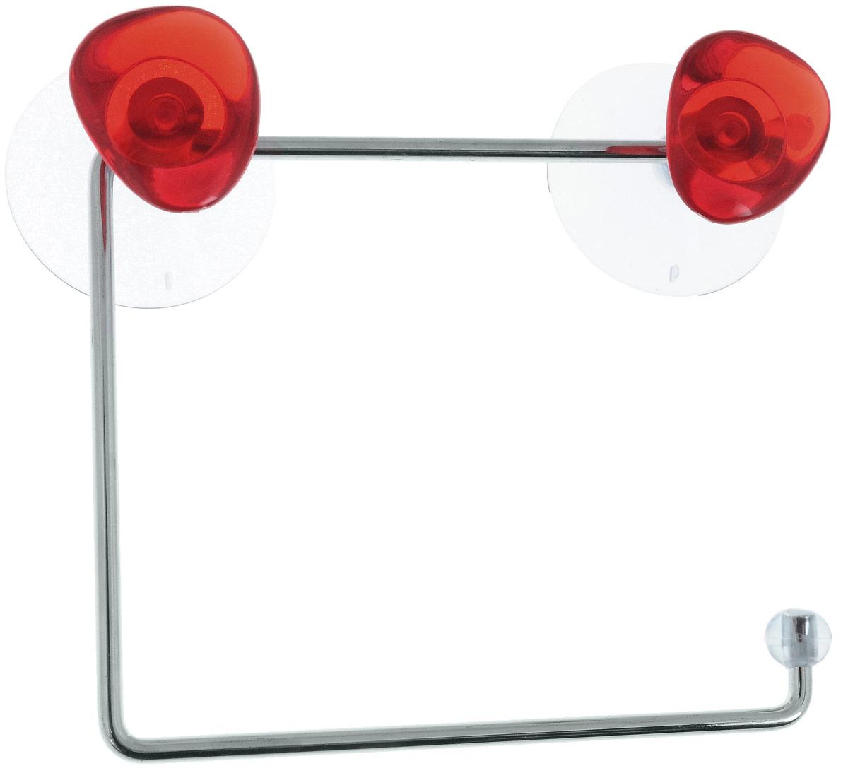 Держатель для туалетной бумаги Axentia Amica, на присосках, цвет: красный, стальной282032_красныйДержатель для туалетной бумаги Axentia Amica изготовлен из высококачественной стали с хромированным покрытием, которое устойчиво к влажности и перепадам температуры. Держатель поможет оформить интерьер в выбранном стиле, разбавляя пространство туалетной комнаты различными элементами. Он хорошо впишется в любой интерьер, придавая ему черты современности. Для большего удобства изделие крепится к поверхностям с помощью двух присосок из поливинилхлорида (входят в комплект), что дает возможность при необходимости менять их месторасположение. Размер держателя: 14,5 х 12,5 х 4,5 см. Диаметр присоски: 5,5 см.