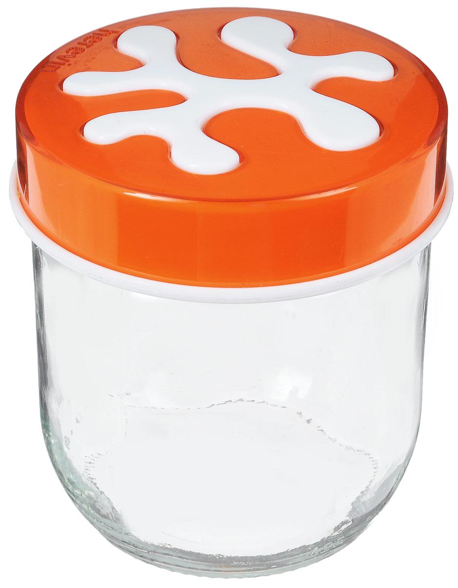 Банка для сыпучих продуктов Herevin, цвет: оранжевый, 400 мл135357-007_оранжевыйБанка для сыпучих продуктов Herevin изготовлена из прочного стекла и оснащена плотно закрывающейся пластиковой крышкой. Благодаря этому внутри сохраняется герметичность, и продукты дольше остаются свежими. Изделие предназначено для хранения различных сыпучих продуктов: круп, чая, сахара, орехов и т.д. Функциональная и вместительная, такая банка станет незаменимым аксессуаром на любой кухне. Можно мыть в посудомоечной машине. Пластиковые части рекомендуется мыть вручную. Объем: 400 мл. Диаметр (по верхнему краю): 7,5 см. Высота банки (без учета крышки): 8 см.