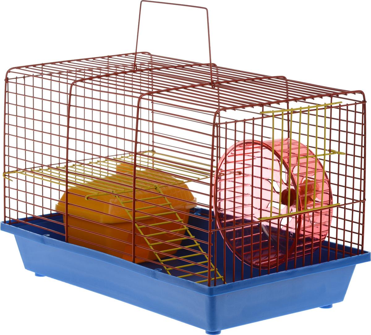 Клетка для грызунов ЗооМарк, 2-этажная, цвет: синий поддон, красная решетка, 36 х 22 х 24 см125ж_синий, красныйКлетка ЗооМарк, выполненная из полипропилена и металла, подходит для мелких грызунов. Изделие двухэтажное, оборудовано колесом для подвижных игр и пластиковым домиком. Клетка имеет яркий поддон, удобна в использовании и легко чистится. Сверху имеется ручка для переноски. Такая клетка станет уединенным личным пространством и уютным домиком для маленького грызуна.