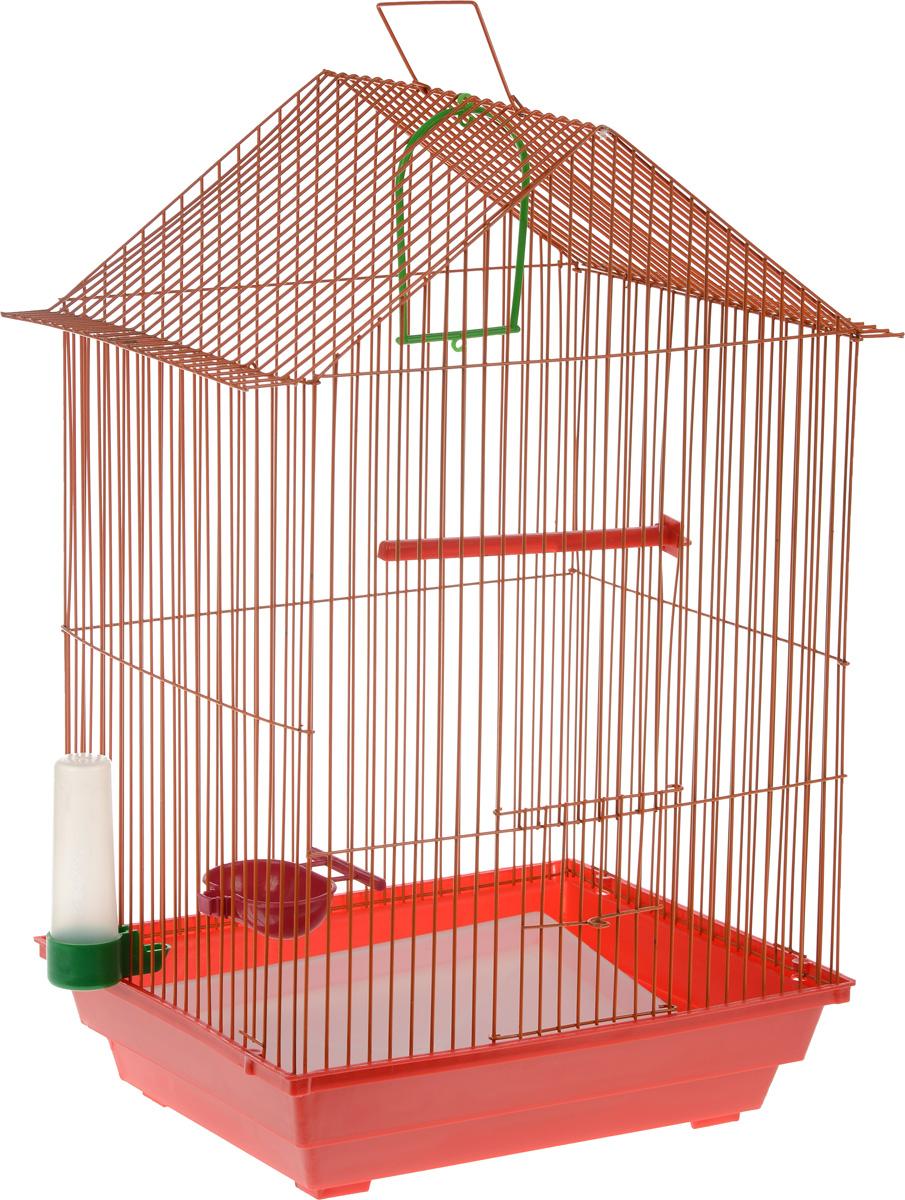 Клетка для птиц ЗооМарк, цвет: красный поддон, оранжевая решетка, 34 x 28 х 54 см430_красный, оранжевыйКлетка ЗооМарк, выполненная из полипропилена и металла с эмалированным покрытием, предназначена для мелких птиц. Изделие состоит из большого поддона и решетки. Клетка снабжена металлической дверцей. В основании клетки находится малый поддон. Клетка удобна в использовании и легко чистится. Она оснащена жердочкой, кольцом для птицы, поилкой, кормушкой и подвижной ручкой для удобной переноски. Комплектация: - клетка с поддоном, - малый поддон; - поилка; - кормушка; - кольцо.