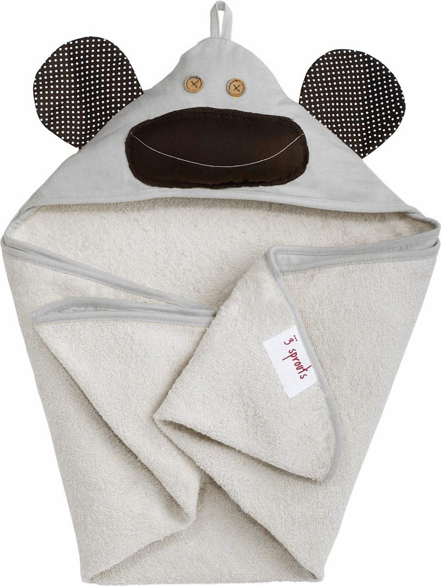 3 Sprouts Полотенце с капюшоном Серая обезьянка 79 х 79 см
