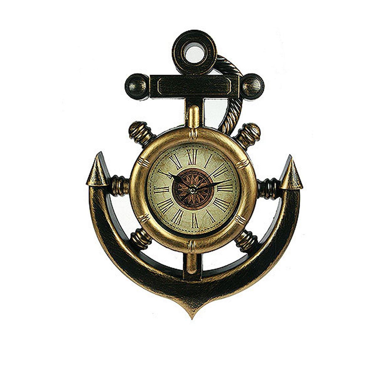 Часы настенные Русские Подарки Якорь, 28 х 39 см. 22243554 009303Настенные кварцевые часы Русские Подарки Якорь изготовлены из пластика. Корпус оригинально оформлен в виде якоря. Циферблат защищен стеклом. Часы имеют три стрелки - часовую, минутную и секундную. С обратной стороны имеетсяпетелька для подвешивания на стену. Такие часы красиво и необычно оформят интерьер дома или офиса. Также часы могут стать уникальным, полезным подарком для родственников, коллег, знакомых и близких.Часы работают от батареек типа АА (в комплект не входят).