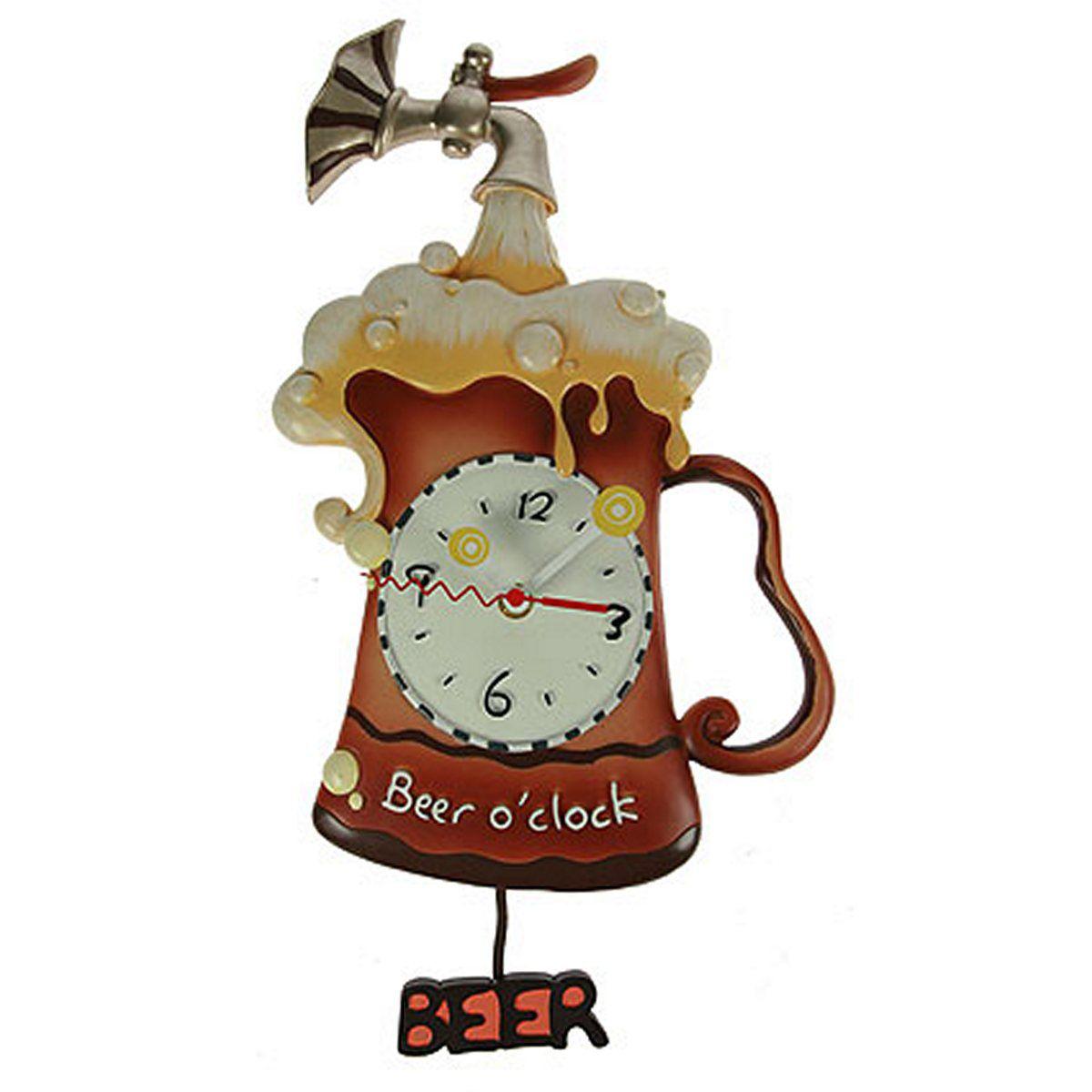 Часы настенные Русские Подарки Пиво, с маятником, 25 х 7 х 52 см. 224865224865