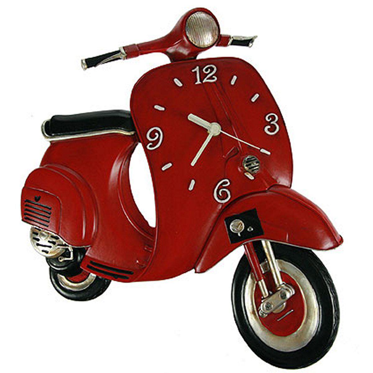 Часы настенные Русские Подарки Веспа, 32 х 7 х 37 см. 224867224867Настенные кварцевые часы Русские Подарки Веспа изготовлены из полистоуна. Корпус оригинально оформлен в виде мотороллера. Часы имеют три стрелки - часовую, минутную и секундную. С обратной стороны имеется петелька для подвешивания на стену. Такие часы красиво и необычно оформят интерьер дома или офиса. Также часы могут стать уникальным, полезным подарком для родственников, коллег, знакомых и близких. Часы работают от батареек типа АА (в комплект не входят).