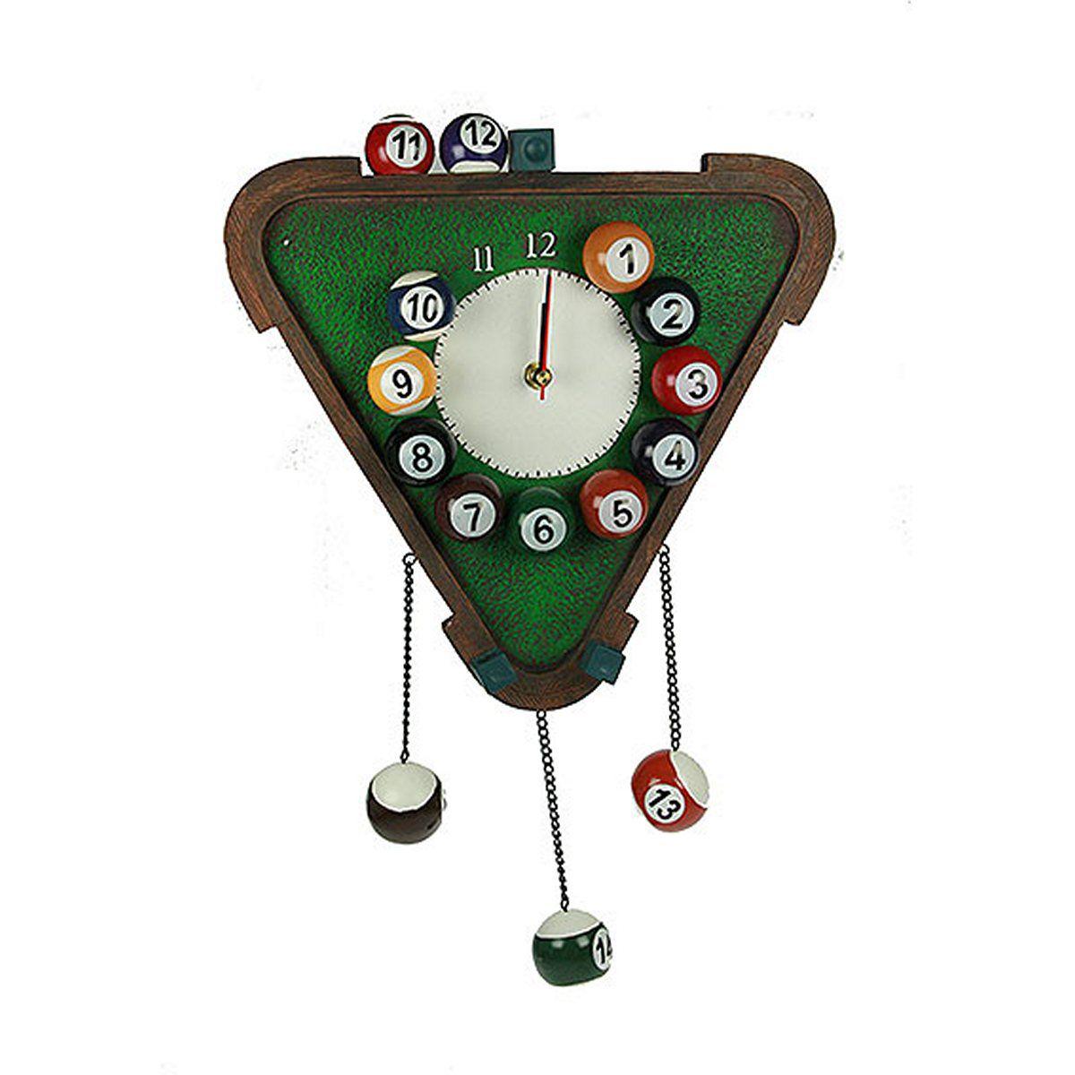 Часы настенные Русские Подарки Бильярд, 30 х 45 х 5 см. 3641536415Настенные кварцевые часы Русские Подарки Бильярд изготовлены из полистоуна. Корпус оригинально оформлен элементами игры в бильярд. Часы имеют три стрелки - часовую, минутную и секундную. С обратной стороны имеется петелька для подвешивания на стену. Такие часы красиво и необычно оформят интерьер дома или офиса. Также часы могут стать уникальным, полезным подарком для родственников, коллег, знакомых и близких. Часы работают от батареек типа АА (в комплект не входят).