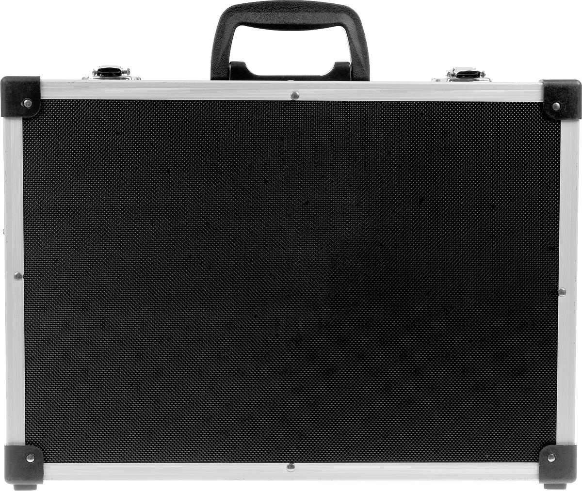 Ящик для инструментов алюминиевый FIT, цвет: черный, 43 х 31 х 13 см65630Ящик-чемодан FIT предназначен для хранения и удобной транспортировки инструментов. Изготовлен из алюминия, а внутренняя отделка выполнена из мягкого пористого материала, что обеспечивает более бережное хранение инструмента. Переставные перегородки позволяют максимально эффективно использовать внутреннее пространство. Чемодан надежно закрывается с помощью металлических защелок. Удобная рукоятка обеспечивает комфортную переноску. Инструментальный ящик применяется как в профессиональной сфере, так и в быту: он очень вместительный, помогает упорядочить нужные в работе предметы и всегда держать их под рукой. Характеристики: Материал: алюминий. Размеры ящика: 43 см х 31 см х 13 см. Количество перегородок: 5. Количество отделений на съемной панели: 17. Размер упаковки: 43 см х 31 см х 13 см.