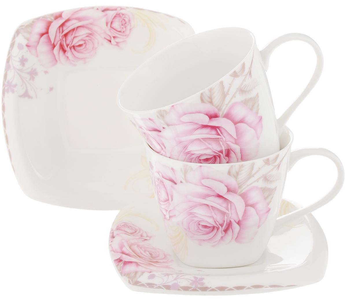 Набор чайный Patricia Розовые розы, 4 предмета115610Чайный набор Patricia Розовые розы, выполненный из высококачественного фарфора, состоит из 2 чашек и 2 блюдец. Предметы набора декорированы изысканным изображением роз. Изделия прекрасно подойдут как для повседневного использования, так и для праздников. Набор Patricia Розовые розы - это не только яркий и полезный подарок для родных и близких, но и великолепное дизайнерское решение для вашей кухни или столовой. Набор имеет подарочную упаковку, задрапированную белой атласной тканью. Можно мыть в посудомоечной машине и использовать в микроволновой печи. Объем чашки: 220 мл. Диаметр чашки (по верхнему краю): 8,5 см. Высота чашки: 7,2 см. Размер блюдца: 13 х 13 см.Высота блюдца: 1,9 см.