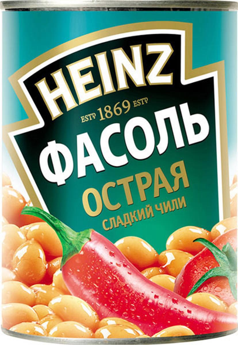 Heinz фасоль и сладкий чили, 390 г0120710Секрет фасоли Хайнц в безупречном сочетании нежнейшего сорта фасоли и идеального соуса из средиземноморских томатов! Фасоль Хайнц богата белком и клетчаткой, практически не содержит жиров. Это натуральный, полезный, легкий и высокопитательный продукт. Классика вкуса! Умерено-острая фасоль с перцем Чили прекрасно подходит к мясу. Она придаст любым блюдам особую пикантность.