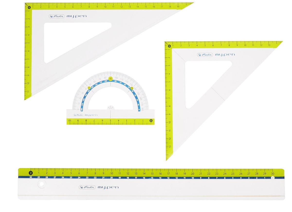 Herlitz Геометрический набор цвет желтый 4 предмета11368222_желтыйГеометрический набор Herlitz выполнен из прочного пластика. Набор включает в себя линейку 30 см, транспортир на 180 градусов, два треугольника (19 см, 13 см). Каждый чертежный инструмент имеет свои функциональные особенности, что делает работу с ними особенно удобной и легкой. Набор подходит для правшей и левшей.