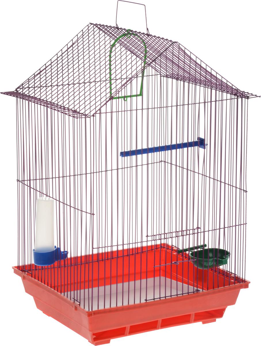 Клетка для птиц ЗооМарк, цвет: красный поддон, фиолетовая решетка, 34 x 28 х 54 см430_красный/фиолетовыйКлетка ЗооМарк, выполненная из полипропилена и металла с эмалированным покрытием, предназначена для мелких птиц. Изделие состоит из большого поддона и решетки. Клетка снабжена металлической дверцей. В основании клетки находится малый поддон. Клетка удобна в использовании и легко чистится. Она оснащена жердочкой, кольцом для птицы, поилкой, кормушкой и подвижной ручкой для удобной переноски. Комплектация: - клетка с поддоном, - малый поддон; - поилка; - кормушка; - кольцо. Размер клетки: 34 см x 28 см х 54 см.