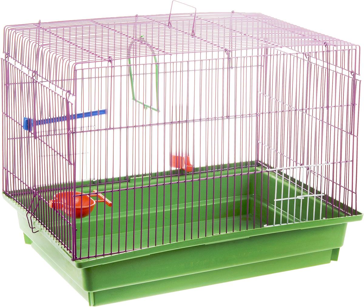 Клетка для птиц ЗооМарк, цвет: зеленый поддон, фиолетовая решетка, 50 х 31 х 41 см0120710Клетка ЗооМарк, выполненная из полипропилена и металла с эмалированным покрытием, предназначена для птиц.Изделие состоит из большого поддона и решетки. Клетка снабжена металлической дверцей. Она удобна в использовании и легко чистится. Клетка оснащена жердочкой, кольцом для птицы, поилкой, кормушкой и подвижной ручкой для удобной переноски. Комплектация: - клетка с поддоном, - поилка; - кормушка;- кольцо.Размеры клетки: 50 см х 31 см х 41 см.