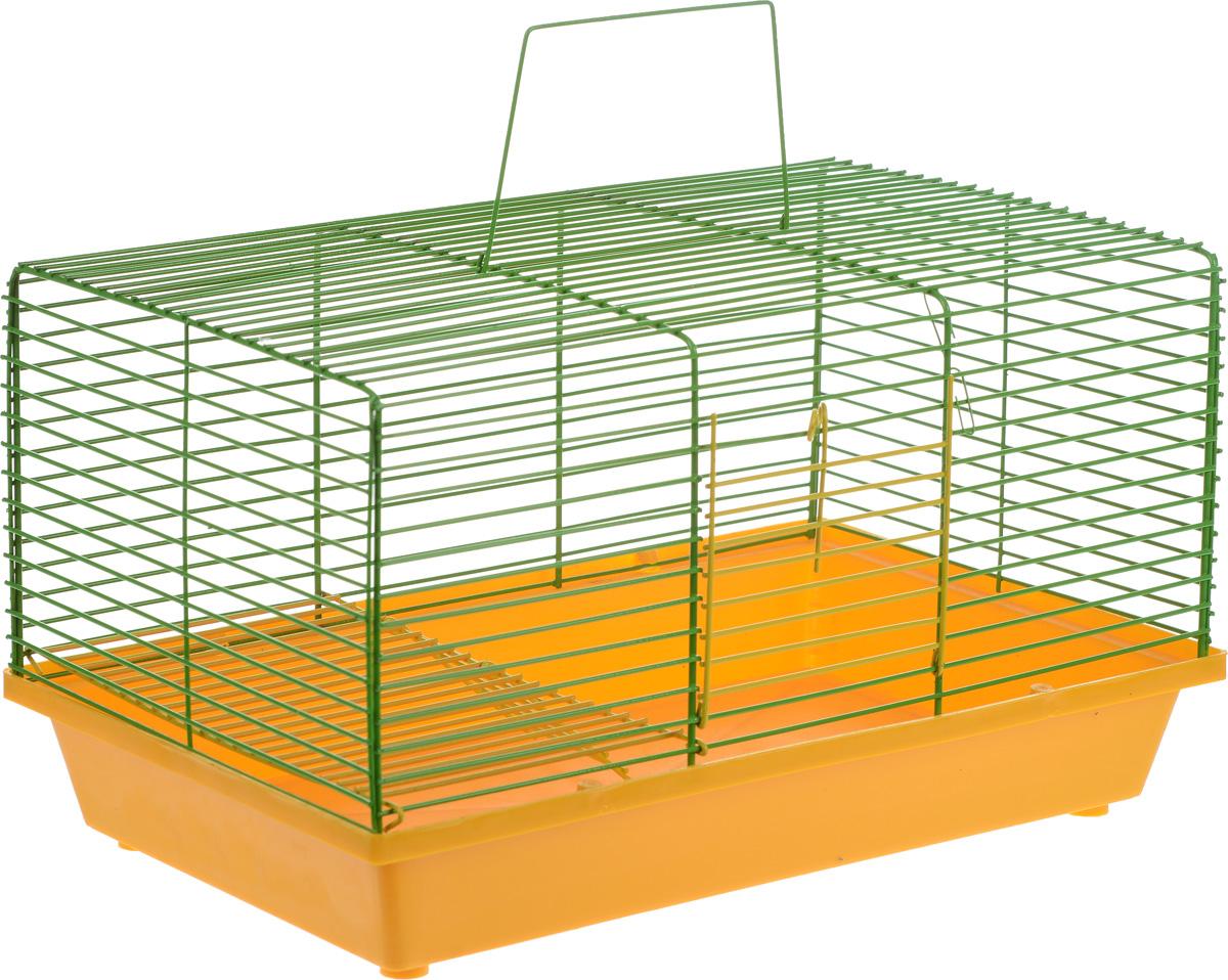 Клетка для хомяка ЗооМарк, 2-этажная, цвет: желтый поддон, зеленая решетка, 36 х 23 х 20 см111_желтый/зеленыйДвухэтажная клетка Зоомарк, выполненная из полипропилена и металла, подходит для хомяков или других небольших грызунов. Она имеет яркий поддон, удобна в использовании и легко чистится. Сверху имеется ручка для переноски. Такая клетка станет уединенным личным пространством и уютным домиком для маленького грызуна. Размер клетки: 36 см х 23 см х 20 см.