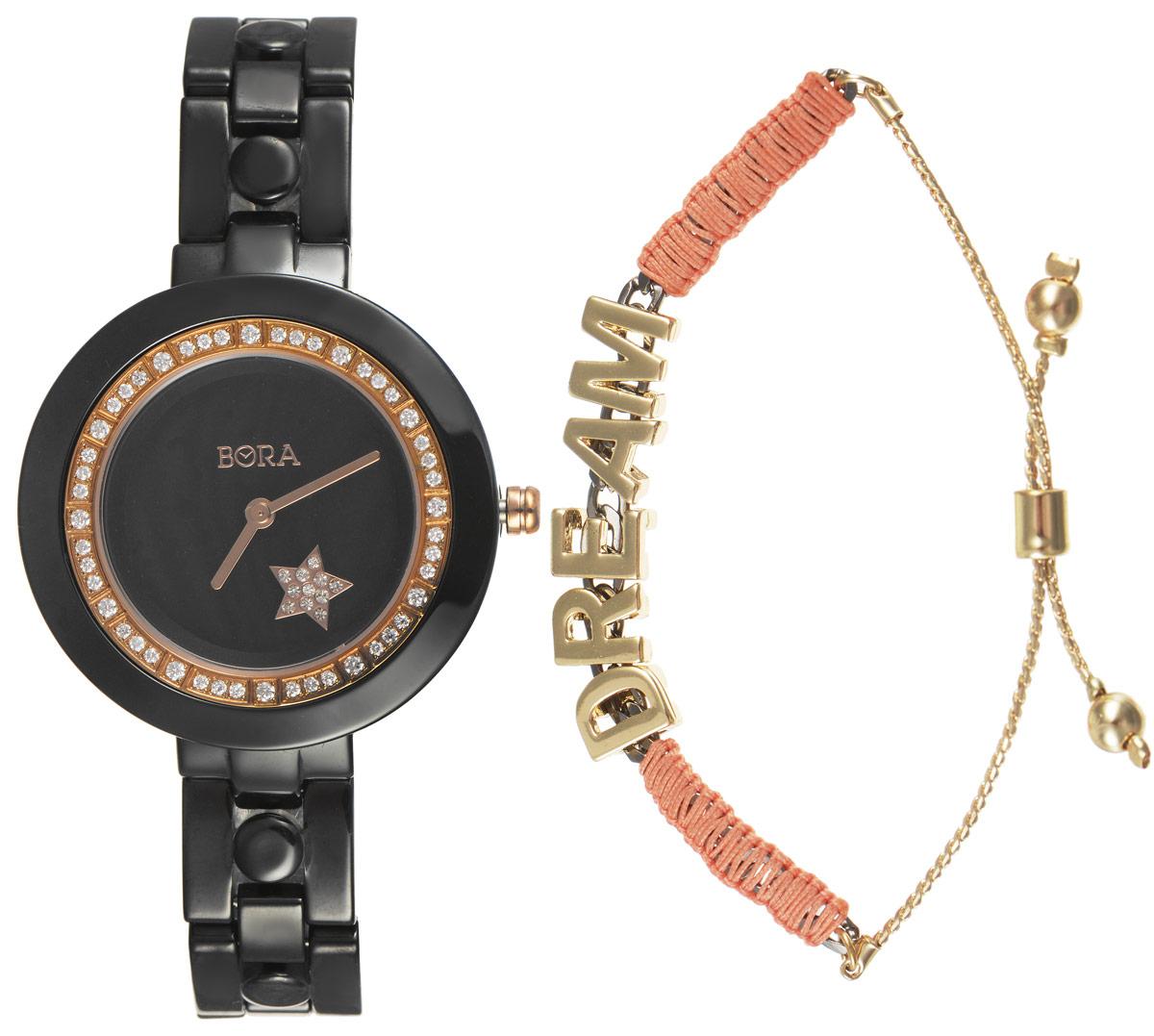 Часы наручные Bora, с браслетом, цвет: черный, коралловый. T-B-6761INT-06501Часы наручные электронно-механические кварцевые. Часы аксессуарные, с механической индикацией. Часовой механизм Seiko Instruments (SII), с питанием от сменного кварцевого элемента. Модель декорирована стразами. Браслет с надписью выполнен из гипоаллергенного сплава на основе латуни, не содержащего свинец и никель. Модель дополнена вставкой из текстиля, регулируется по длине.
