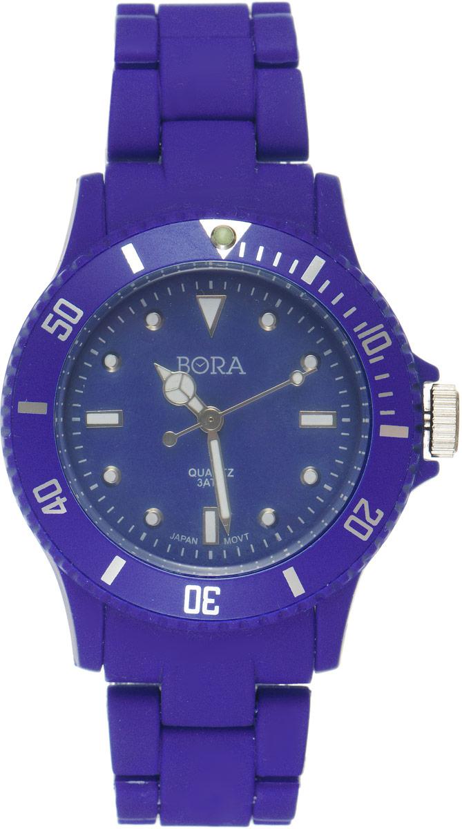Часы наручные женские Bora, цвет: темно-синий. T-B-6299T-B-6299-WATCH-NAVYНаручные часы Bora произведены опытными специалистами из материалов самого высокого качества на базе новейших технологий и оснащены электронно-механическим кварцевым механизмом Seiko Instruments (Япония). Корпус часов выполнен из нержавеющей стали и пластика черного цвета. Циферблат круглой формы, оформленный отметками, имеет три стрелки - часовую, минутную и секундную. Стрелки и отметки покрыты люминесцентным раствором, благодаря чему светятся в темноте. Внешний циферблат оформлен цифрами. Браслет выполнен из пластика и застегивается на застежку-бабочку. Часы Bora подчеркнут ваш неповторимый стиль и добавят элегантности в ваш образ.