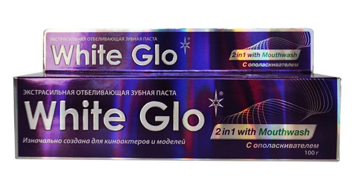 White Glo Зубная паста, отбеливающая 2 в 1, 100 г5010777142037Уникальная зубная паста со специальным ополаскивателем, который помогает бороться с бактериями, которые вызывают неприятный запах изо рта, и зубным налетом в труднодоступных местах. Паста обладает двойной силой отбеливания.