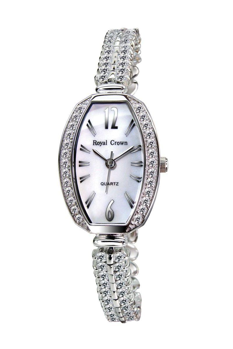Часы наручные женские Royal Crown, цвет: серебристый. 3811-RDM-53811-RDM-5Наручные кварцевые часы Royal Crown выполнены из высококачественного металла. Корпус оформлен вставками из страз. Браслет оснащен удобной металлической застежкой, которая надежно зафиксирует изделие на запястье. Часы оснащены минеральным, устойчивым к царапинам, стеклом с сапфировым напылением и задней крышкой из гипоаллергенной нержавеющей стали.