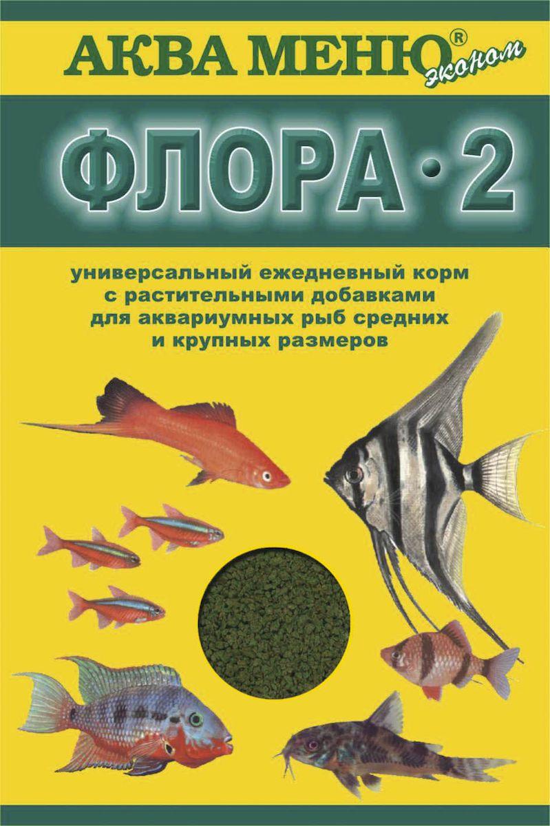 Корм для рыб Аква Меню Флора-2, с растительными добавками для рыб средних размеров, 30 г0120710ежедневный корм с растительными добавками для рыб средних размеров
