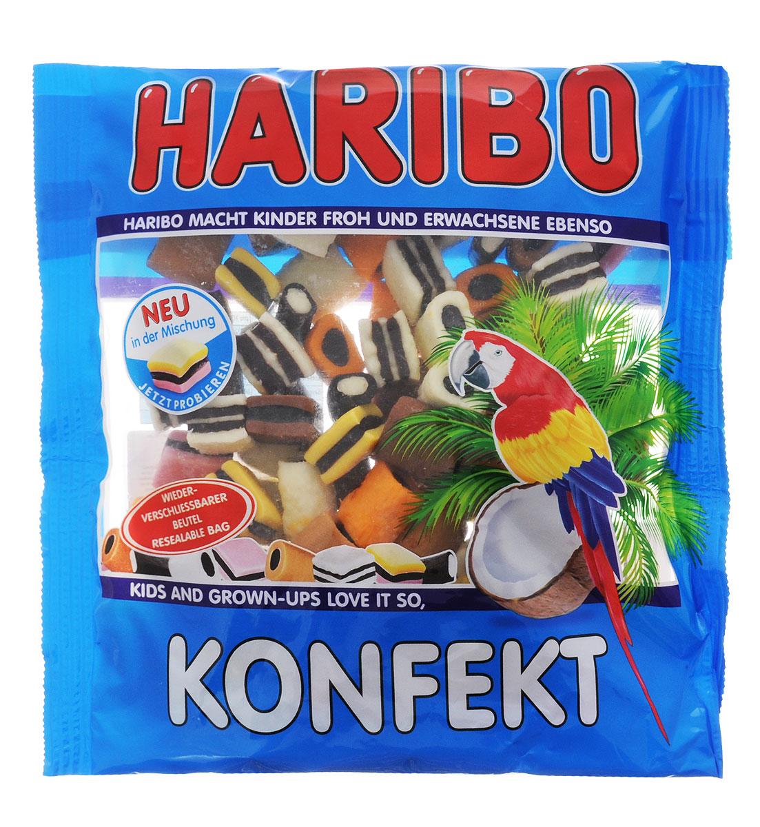 Haribo Konfekt конфеты жевательные с лакрицей и какао, 500 г0120710Вы всегда хотели узнать, что такое лакрица, но боялись попробовать? Haribo Konfekt - это пожалуй лучший способ знакомства с лакричными сладостями! В сочетании с кокосом, какао, лимоном и клубникой, лакрица деликатно раскрывает свой вкус и помогает новичкам познать всю прелесть этой традиционной европейской сладости.