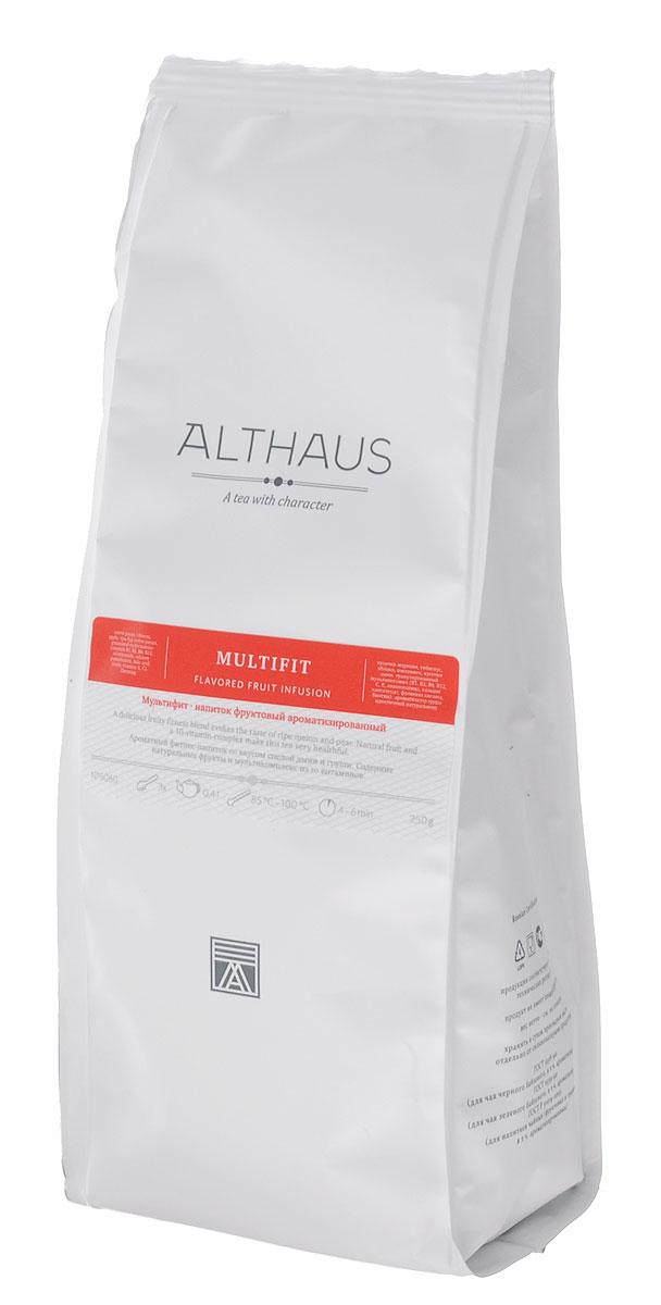 Althaus Multifit фруктовый листовой чай, 250 г101246Althaus Multifit — тонизирующий фруктовый напиток, обогащенный витаминами. В состав этого уникального купажа входит гранулированный комплекс из 10 витаминов, рекомендованных Немецким обществом питания для ежедневного употребления взрослыми: B1, B2, B6, B12, E, C, никотинамид, пантотенат кальция, фолиевая кислота, биотин. При процентном содержании витаминов 7.5% порция чая Multifit (5 г) обеспечивает половину суточной нормы 10 витаминов.Купаж дает настой нежно-рубинового цвета. Традиционная основа фруктовых блендов — гибискус, яблоко, шиповник — здесь дополнен таким необычным и полезным компонентом как морковь. Вкус чая полный, богатый, с хорошим балансом кислинки и сладких нот — засахаренных долек сочной дыни и спелой садовой груши, аромат напоминает запах свежего фруктового конфитюра. Напиток создан для современных людей, ведущих активный образ жизни и заботящихся о своем здоровье. Температура воды: 85-100°СВремя заваривания: 4-6 мин Цвет в чашке: нежно-рубиновый