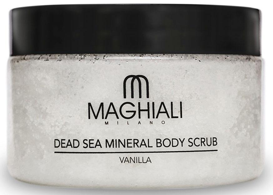Maghiali Скраб для тела Dead sea Mineral, ваниль, 250 млБ33041Содержит 100% соль Мертвого моря, обогощенную 27 витаминами и минералами Мертвого моря, а также кунжутное масло и масло семян жожоба, которые обеспечивают продолжительное увлажнение кожи. Скраб позволяет устранить омертвевшие клетки и загрязнения, скопившиеся в порах кожи, делая ее гладкой и приятной на ощупь. Особенно рекомендуется для придания мягкости ступням.