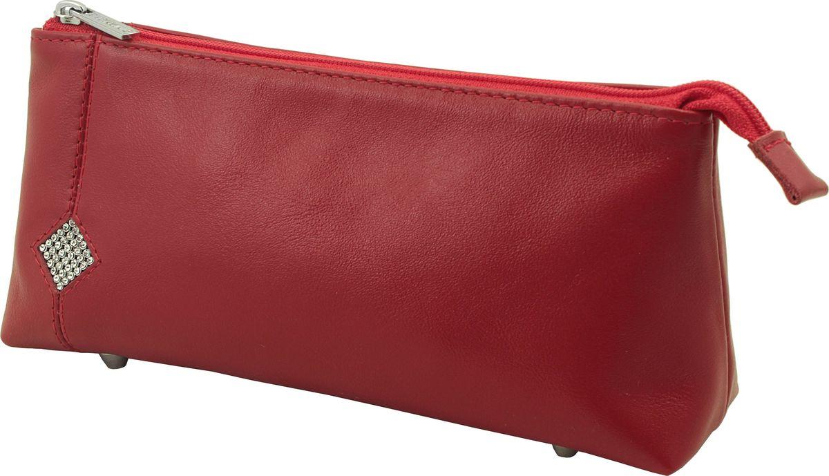 Косметичка Dimanche Рубин, цвет: красный. 011011_красныйКосметичка Dimanche выполнена из натуральной кожи и оформлена вставкой со стразами. Косметичка оснащено металлическими ножками, которые предотвратят повреждение дна. Изделие закрывается с помощью застежки-молнии. Внутри расположено одно вместительное отделение.