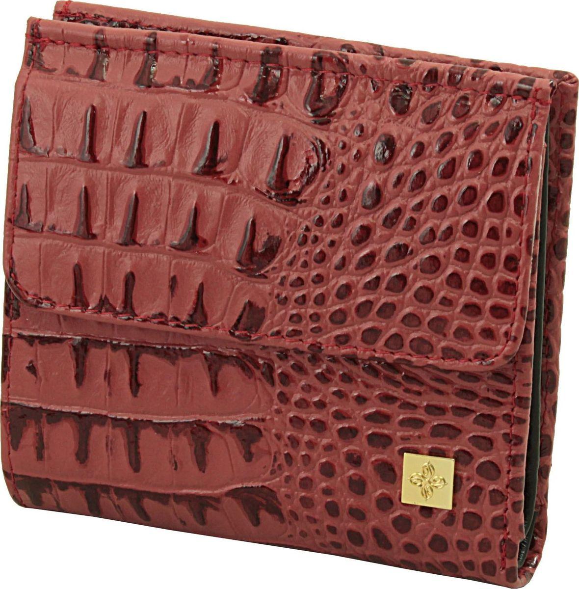 Кошелек женский Dimanche Loriсata Rouge, цвет: коричнево-красный. 544/8A16-11154_711Кошелек Dimanche выполнен из натуральной кожи и оформлен тиснением под рептилию. На лицевой стороне расположен объемный карман для мелочи, который закрывается клапаном с кнопкой. Внутри расположено два открытых кармана для купюр, карман для купюр на молнии, два кармана для кредиток, карман для sim-карты, карман с пластиковым окошком для документов и два вертикальных кармана. Изделие закрывается на кнопку.