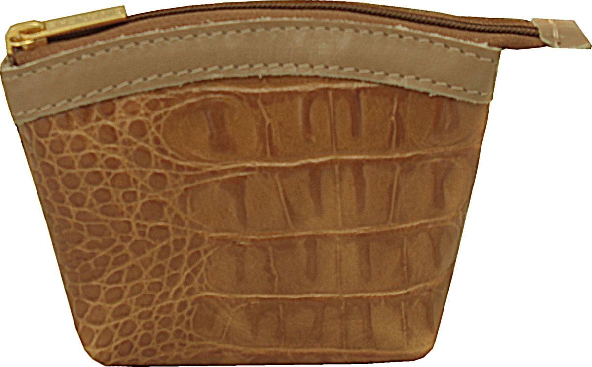 Кошелек-монетница женский Dimanche Nugget, цвет: горчичный. 258/18ICE 8508Кошелек-монетница Dimanche выполнен из натуральной кожи и оформлен декоративным тиснением под рептилию. Изделие закрывается с помощью застежки-молнии. Внутри расположено главное отделение с поверхностью из шелковистого текстиля.