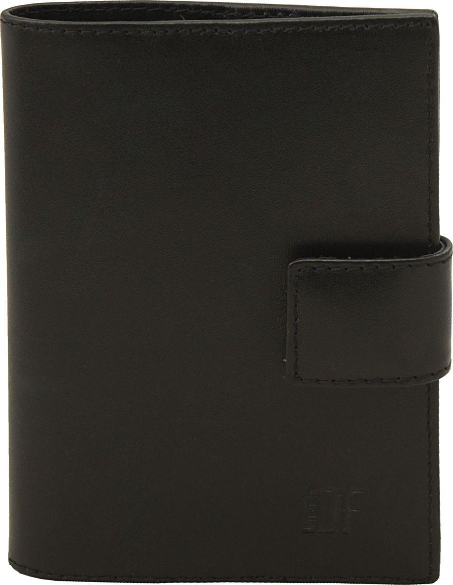 Обложка для паспорта мужская Dimanche Bond, цвет: черный. 335335_черныйОбложка на подкладке с кожаными карманами внутри,закрывается на кнопку хлястиком.