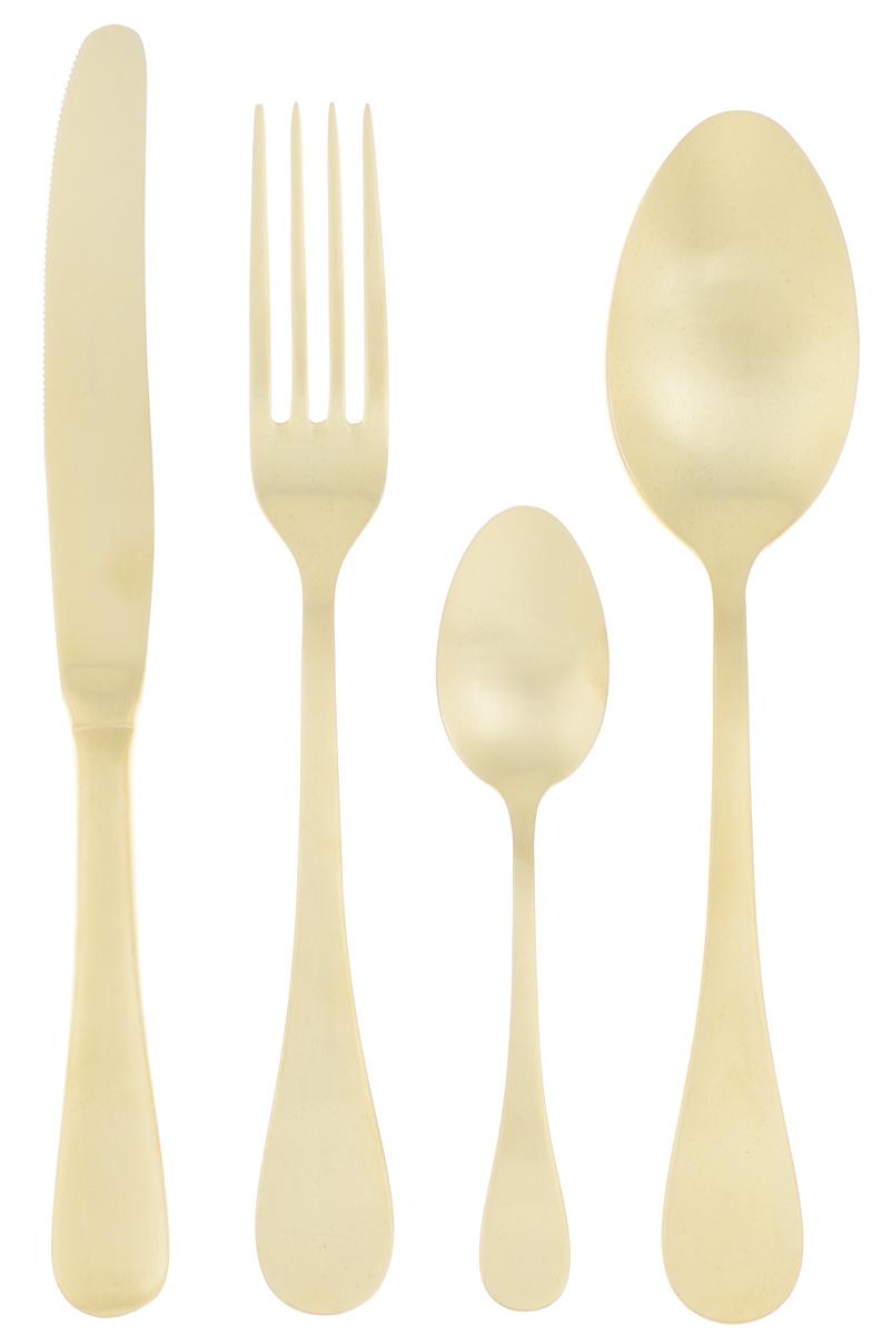 Набор столовых приборов Herdmar Rocco Old Gold, 24 предмета08930241600E16Набор столовых приборов Herdmar Rocco Old Gold — это сочетание высокого качества и стильного дизайна. Этот набор подойдет для сервировки праздничного стола, или дополнит набор ваших кухонных принадлежностей и хорошо впишется в дизайн современной кухни. Набор рассчитан на 6 персон (всего 24 предмета: 6 столовых ложек, 6 вилок, 6 ножей и 6 чайных ложек). Набор упакован в чемодан, в котором все предметы удобно хранить. Приборы выполнены из нержавеющей стали с добавлением 18% хрома и 10% никеля, поэтому они устойчивы к внешним повреждениям и окислению. Изделия можно мыть вручную с использованием мыльных моющих средств, а также в посудомоечной машине. При мойке в посудомоечной машине постарайтесь извлечь чистые столовые приборы как можно быстрее и просушить их. Длина столовой ложки: 21 см. Длина вилки: 21 см. Длина ножа: 23,5 см. Длина чайной ложки: 14 см.