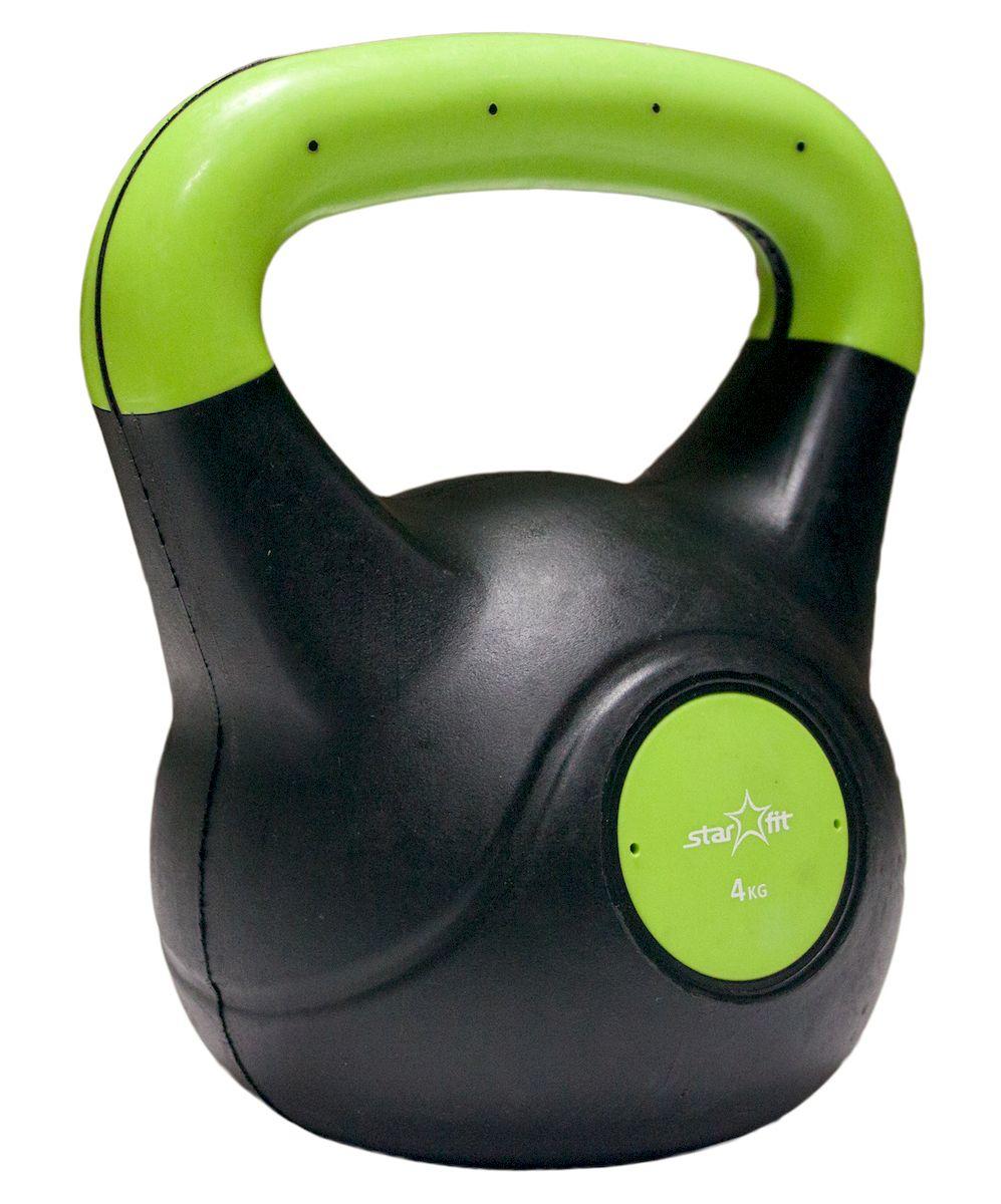 Гиря Starfit DB-501, пластиковая, цвет: зеленый, черный, 4 кгУТ-00007110Гиря пластиковая Star Fit DB-501 не царапает пол и создает меньше шума при падении. Пластиковый корпус наполнен цементом. Данная модель имеет индивидуальный дизайн и приятное яркое цветовое решение. Гиря используется в фитнесе, бодибилдинге, функциональном тренинге, лечебной физкультуре, беге и других спортивных дисциплинах. Вес: 4 кг.
