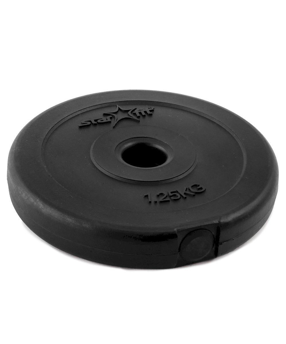 Диск пластиковый Starfit BB-203, посадочный диаметр 26 мм, 1,25 кгУТ-00007179Диск Star Fit BB-203 подходит для гантелей и грифов диаметром 26 мм. Он изготовлен из прочного ABS пластика и цемента. Высокое качество обеспечивает безопасность занятий спортом. Для тренировки в домашних условиях чаще всего применяются пластиковые диски, которые не царапают пол и не гремят, привлекая излишнее внимание соседей. При покупке дисков обязательно обращайте внимание на допустимый вес, который может выдержать гриф. Посадочный диаметр: 26 мм. Вес: 1,25 кг.