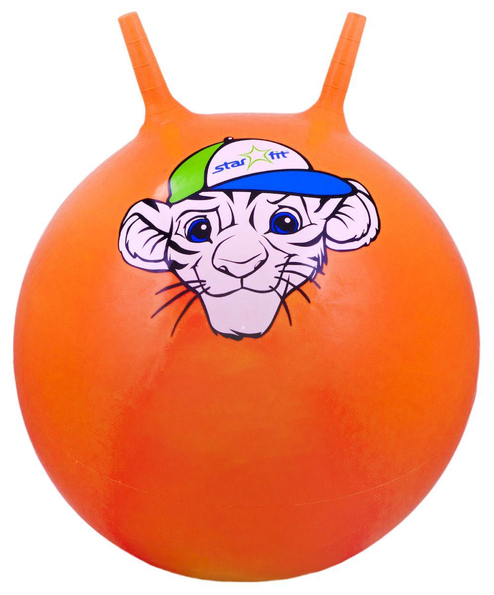 """Мяч-попрыгун Starfit """"Тигренок"""", с рожками, цвет: оранжевый, белый, зеленый, диаметр 55 см УТ-00007229"""