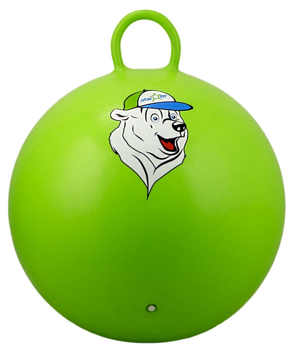 """Мяч-попрыгун Starfit """"Медвеженок"""", с ручкой, цвет: зеленый, белый, синий, диаметр 65 см УТ-00007268"""