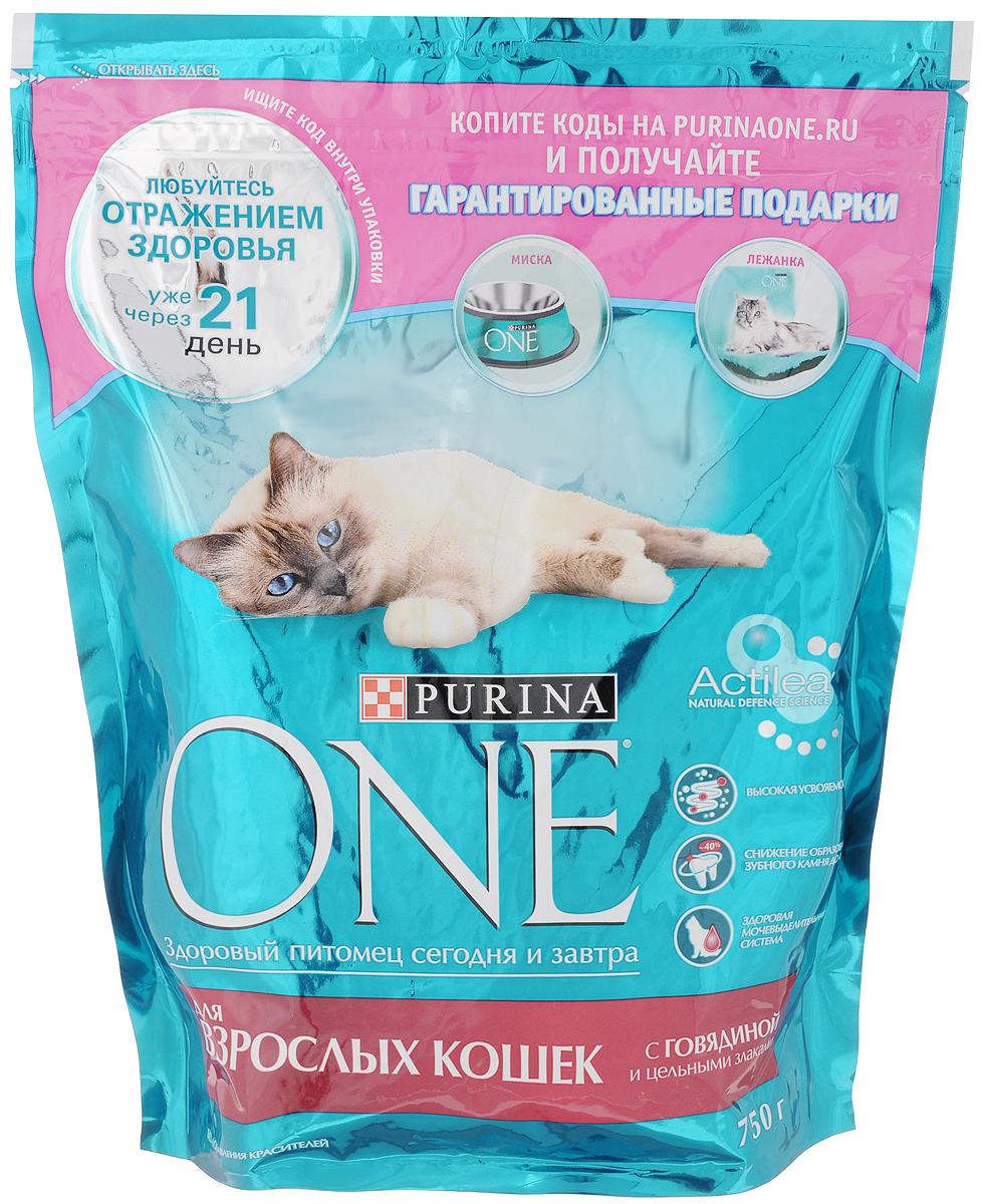 Корм сухой Purina One для взрослых кошек, с говядиной и цельными злаками, 750 г12306635Корм для взрослых кошек (старше 1 года) Purina One с курицей и злаками идеально подходит для домашних питомцев, за счет своего сбалансированного состава сохраняя и поддерживая их здоровье и хорошее самочувствие. Научными исследованиями доказано благотворное влияние содержащихся в корме жирных кислот Омега 6 и цинка на здоровье кожи и шерсти питомцев. При постоянном включении в рацион домашнего питомца сухого корма Purina One шерсть кошек становится густой и блестящей, а их кости — крепкими и подвижными, за что, помимо прочего, отвечает витамин D, содержащийся в корме в нужном количестве. Корм для взрослой кошки должен содержать достаточное количество белка, необходимого для активности животных в этом возрасте. Purina One с курицей и злаками отвечает и этому показателю, являясь оптимальным выбором для питания всех взрослых кошек. Товар сертифицирован.