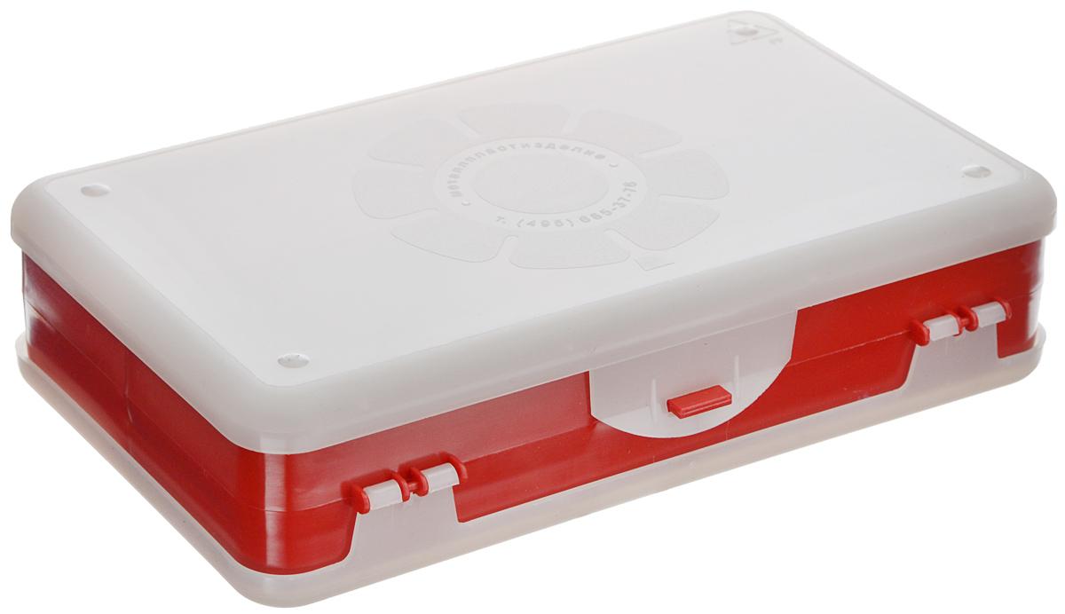Шкатулка для мелочей Айрис, двухсторонняя, цвет: красный, прозрачный, 21,5 х 12,5 х 5 см. 533758533758_красный, прозрачныйШкатулка для мелочей изготовлена из пластика. Шкатулка двухсторонняя, поэтому в ней можно хранить больше мелочей. Подходит для швейных принадлежностей, рыболовных снастей, мелких деталей и других бытовых мелочей. В одном отделении 4 секции, в другом - 5. Удобный и надежный замок-защелка обеспечивает надежное закрывание крышек. Изделие легко моется и чистится. Такая шкатулка поможет держать вещи в порядке. Размер самой большой секции: 21 х 6 х 2,3 см. Размер самой маленькой секции: 13 х 2,3 х 2,3 см.