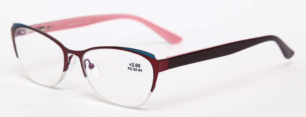 Proffi Home Очки корригирующие (для чтения) 830 Fabia Monti +2.00, цвет: бордовыйперфорационные unisexНадев эти очки, вы сможете четко видеть пространство впереди себя. Они удобны при чтении. Оправа очков легкая и не создает никакого дискомфорта.